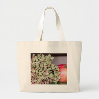 pomegranate and dried  hydrangea large tote bag