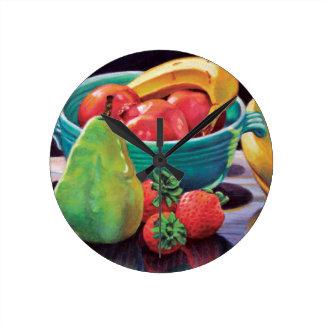Pomegranate Banana Berry Pear Reflection Round Clock