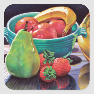 Pomegranate Banana Berry Pear Reflection Square Sticker