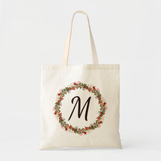 Pomegranate Floral Wreath Monogram Tote Bag