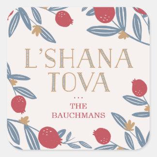 Pomegranate Florals Rosh Hashanah Square Sticker