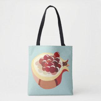 Pomegranate fruit illustration tote bag