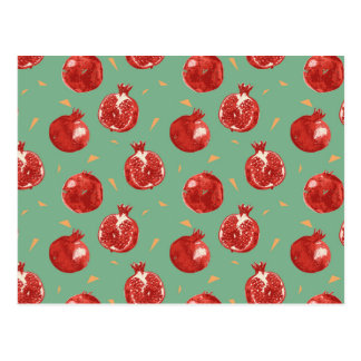 Pomegranate Fruit Vector Seamless Pattern Postcard