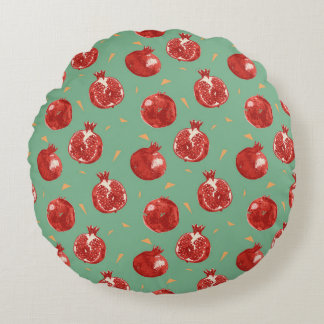 Pomegranate Fruit Vector Seamless Pattern Round Cushion