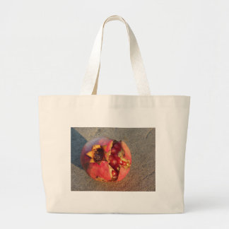 Pomegranate fruit with visible grains large tote bag