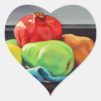 Pomegranate Pear Lemon Pedestal Heart Sticker