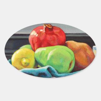 Pomegranate Pear Lemon Pedestal Oval Sticker