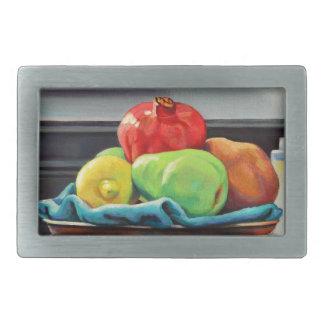 Pomegranate Pear Lemon Pedestal Rectangular Belt Buckle