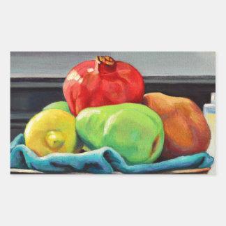Pomegranate Pear Lemon Pedestal Rectangular Sticker
