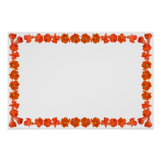 Pomegrante Border with Blank Field for Custom Text Posters