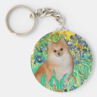 Pomeranian 3 - Irises Key Ring