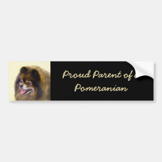 Pomeranian Black and Tan Painting Original Dog Art Bumper Sticker