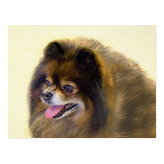 Pomeranian Black and Tan Painting Original Dog Art Postcard