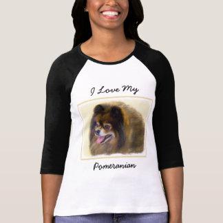Pomeranian Black and Tan Painting Original Dog Art T-Shirt