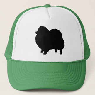 Pomeranian Black Dog Silhouette Trucker Hat