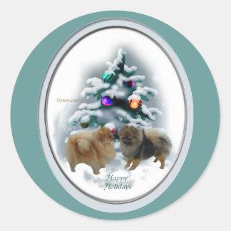 Pomeranian Christmas Gifts Classic Round Sticker