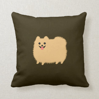 Pomeranian - Cute Dog on Chocolate Color Cushion