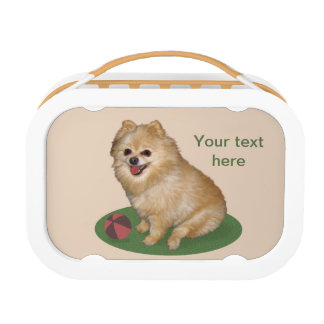 Pomeranian Dog Customizable Text Lunch Box