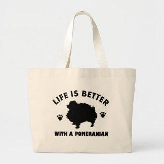 Pomeranian dog design large tote bag