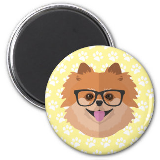 Pomeranian Dog In Nerd Glasses | Cute Hipster Gift 6 Cm Round Magnet