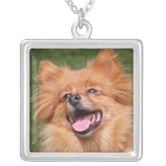 Pomeranian dog necklace, gift idea square pendant necklace