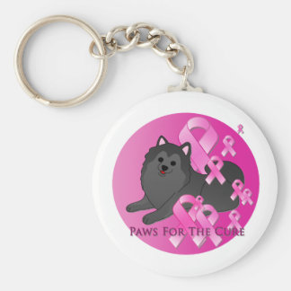 Pomeranian Dog Pink Ribbon Key Ring