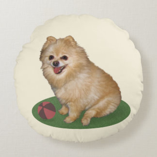 Pomeranian Dog with Ball Customizable Round Cushion