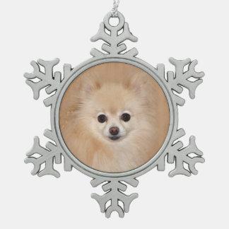 Pomeranian face pewter snowflake decoration