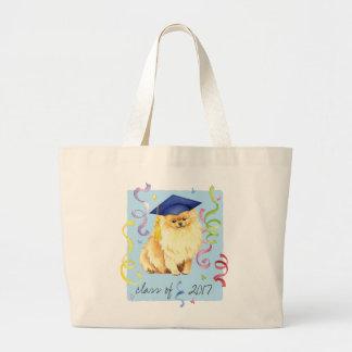 Pomeranian Graduate Large Tote Bag