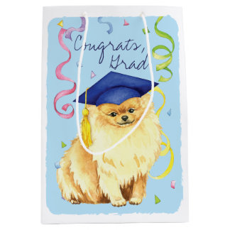 Pomeranian Graduate Medium Gift Bag