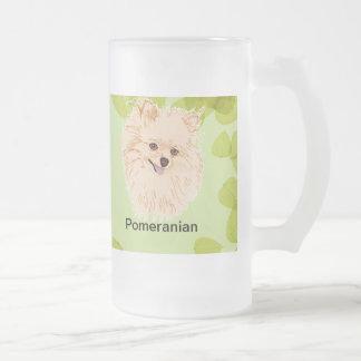 Pomeranian - Green Leaf Design Frosted Glass Mug