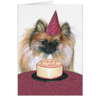 Pomeranian Happy Birthday Card