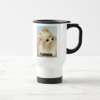 Pomeranian Head Study Dog Art Travel Mug