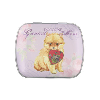 Pomeranian Heart Mom Jelly Belly Tin