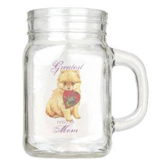 Pomeranian Hearts Mom Mason Jar