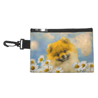 Pomeranian in Daisies Accessory Bags