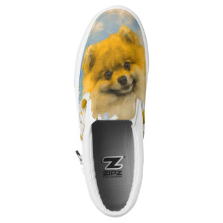 Pomeranian in Daisies Painting - Original Dog Art Slip-On Shoes