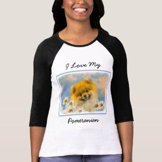 Pomeranian in Daisies Painting - Original Dog Art T-Shirt
