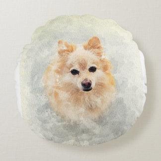 Pomeranian lover pillow! Ginger Pomeranian Dog Round Cushion