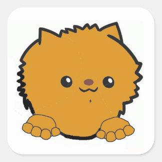 pomeranian peeking orange square sticker