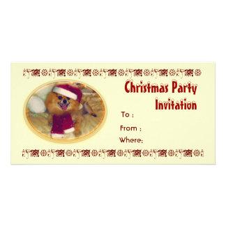 Pomeranian Santa Christmas Party Invitation Photo Card Template