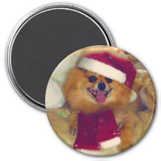 Pomeranian Santa Xmas magnet
