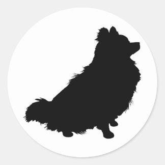 Pomeranian Silhouette Classic Round Sticker