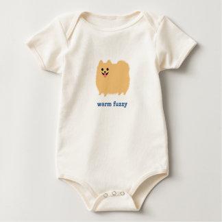 """Pomeranian """"Warm Fuzzy"""" Cute Dog with Custom Text Baby Bodysuit"""