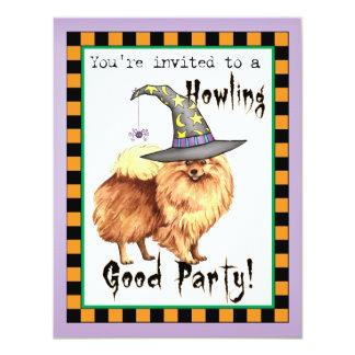 Pomeranian Witch 11 Cm X 14 Cm Invitation Card