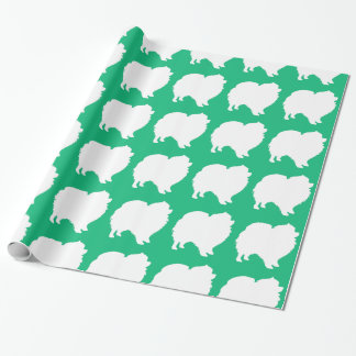 Pomeranian wrapping paper design silhouette green