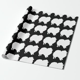 Pomeranian wrapping paper white silhouette black