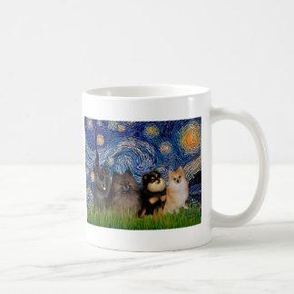 Pomeranians four - Starry Night Coffee Mugs