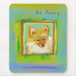 Pomerarnian puppy funny sweet modern dog art mouse pad
