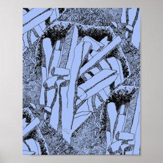 pommes frites tiled 45 in pale blue poster